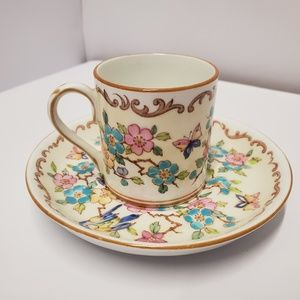 Nice Demitasse Crown china floral tea cup  saucer
